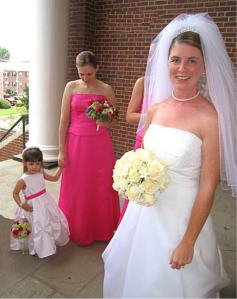 wedding, bride, maid and flowergirl